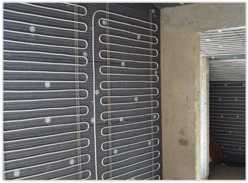 Central heating and cooling wall or ceiling for Radiant heat wall units