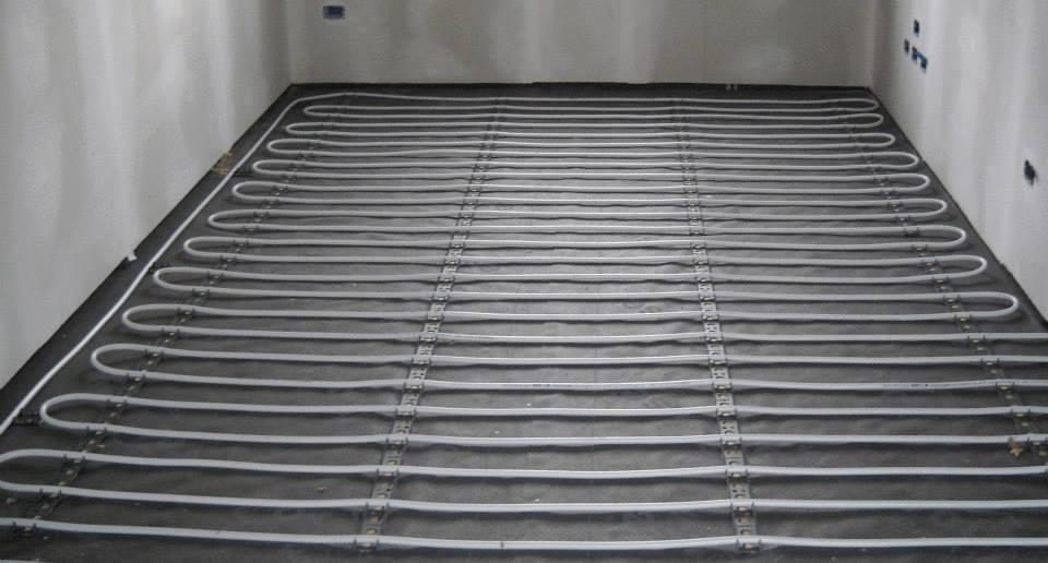 Calefacción piso de fibra de yeso