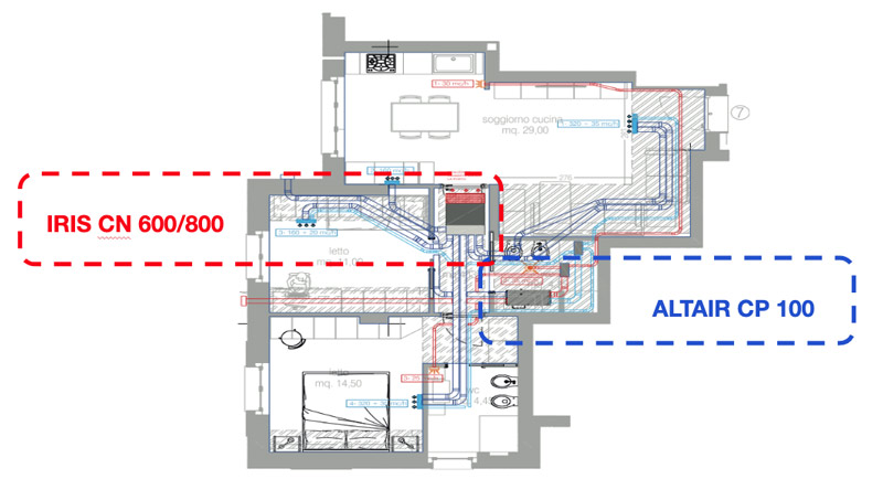 Example of VMC system with integrated air conditioning