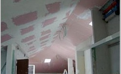 Heating and cooling plasterboard ceiling